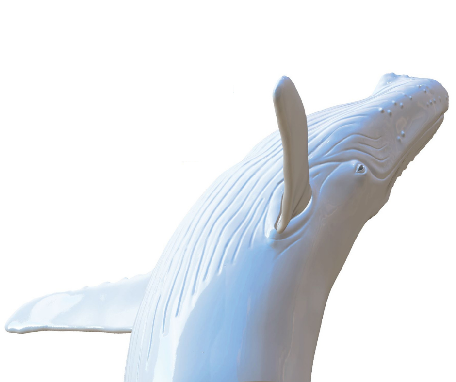 A rendering of the artwork Out of the Blue shows the sculpture of a humpback whale breaching