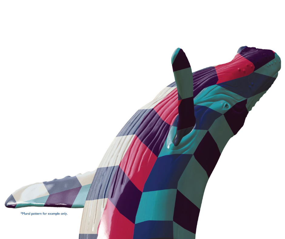 A rendering of the artwork Out of the Blue shows the sculpture of a humpback whale breaching. This one is covered in blocks of pink, teal, and blue as an example of how the artwork will look with a mural.